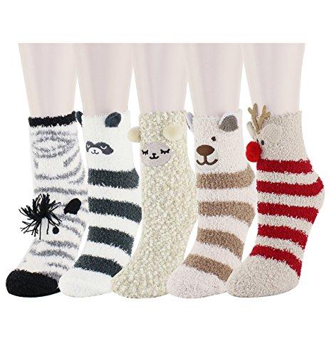 Zmart Pack Fuzzy Fluffy Socks Cozy Soft Warm Slipper Sleeping Cute Animal Socks for Women Teen Girls