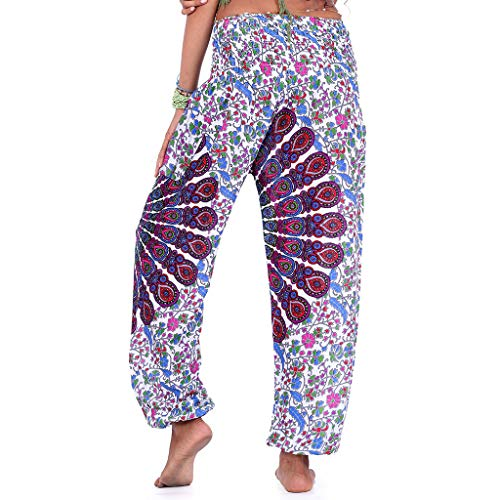 Brizz Damesbroek, lange broek, harembroek, bedrukte bohemium, zomerbroek, yogabroek, Baggy harem stijl met elastische tailleband