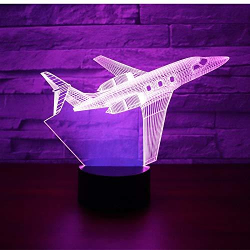 Avión De Pasajeros Con Luz Nocturna Led 3D Con Luz De 7 Colores Para Lámpara De Decoración Del Hogar, Visualización Increíble, Ilusión Óptica 1pc