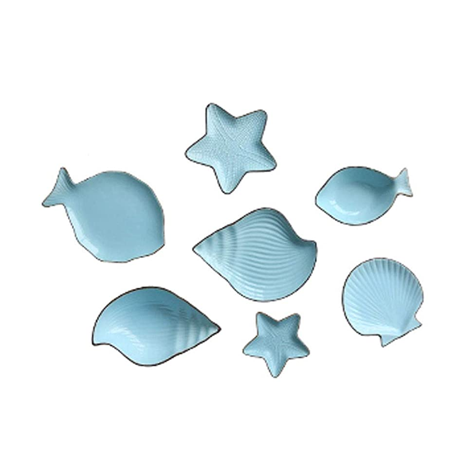 ZHAO YING Mediterranean Fish New Bone China Glaze Process Plate Fruit Plate Bowl 7 Pieces Cutlery Set (Color : Blue)