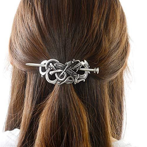 Viking Celtic Hair Slide Hairpins- Viking Hair Accessories Celtic Knot Hair Barrettes Antique Silver Hair Sticks Irish Hair Decor for Long Hair Jewelry Braids Hair Clip With Stick (ID-A2)