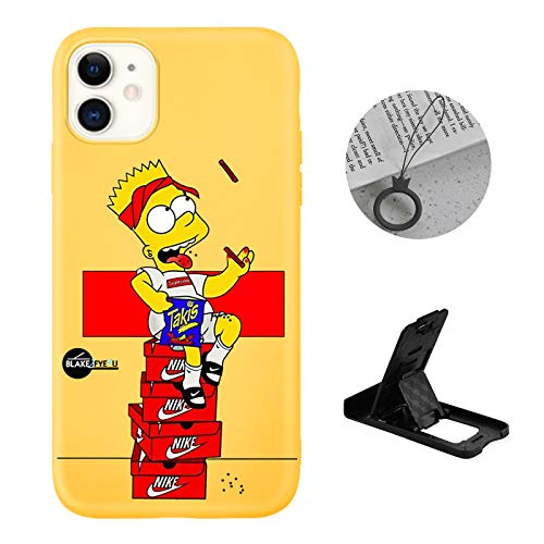 Cool iPhone 11 case for Boys,Funny Simpsons Bart Cute Cartoon Glossy Cover Graphics Design with Cell Phone Stand and Charm Strap Ring