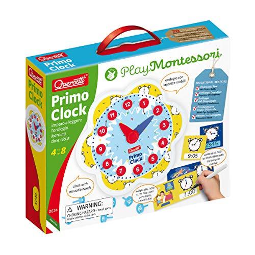 Quercetti - 0624 Play Montessori Primo Clock, imparare l ora , orologio per bambini