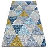 RugsX - Alfombra nórdica escandinava para salón, dormitorio, pasillo, moderna, duradera, para el hogar, rectangular, barato triángulo, 120 x 170 cm, color gris y crema