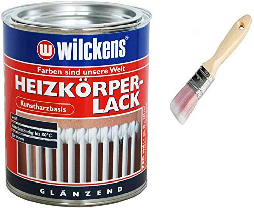 Heizkörperlack inkl. Pinsel zum Auftragen von E-Com24 (Heizkörperlack weiss 750 ml)