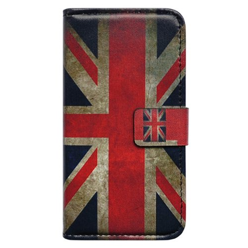 Bfun Packing Retro Union Jack Flag Card Slot Wallet Leather Case Cover for Apple iPhone 5 5G AT&T Verizon Sprint
