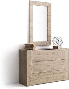 Mobili Fiver, Aparador con Tablero de Vidrio, Modelo Iacopo, Color encina, 120 x 40 x 80 cm