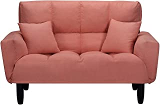 Romatlink Simple Convertible Sofa/Loveseat Sofa/Fabric Double Seat Couch, Home Furniture, Extremely Minimalist Design Classic Design Recliner Foam Seat Fill Material Sofa Support Legs Orange