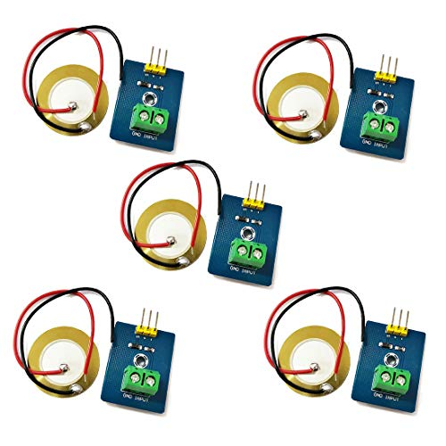 HiLetgo 5pcs Piezoelectric Sensor Analog Ceramic Vibration Sensor Module Piezoelectricity Piezoelectric Electronic Building Blocks for Arduino DIY Kit