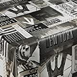 Wachstuch Premium New York SW · Eckig ca. 120x150 cm · Breite und Länge wählbar· abwaschbare Tischdecke Gartentischdecke