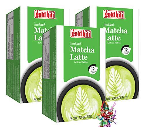yoaxia ® - 3er Pack - [ 3x 250g (10x25g) ] GOLD KILI Instant MATCHA Latte Getränk / Matcha Latte + ein kleines Glückspüppchen - Holzpüppchen