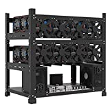 Mining Rig Frame for 12GPU, Steel Open Air Miner Mining Frame Rig Case, Support to Dual Power Supply for Crypto Coin Currency Bitcoin ETH ETC ZEC Mining Tools - Frame Only, Fans & GPU is not Included