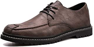 CHENDX Shoes Elegant Oxford Shoes for Men Casual Exquisite Hand-Stitching Anti-Slip Lace Up Round Toe Microfiber Leather Breathable (Color : Liquor, Size : 39 EU)