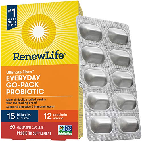 Renew Life Ultimate Flora Adult Everyday Go-Pack Probiotic, 15 Billion, 60 Count; (Pack May Vary) (Package May Vary)