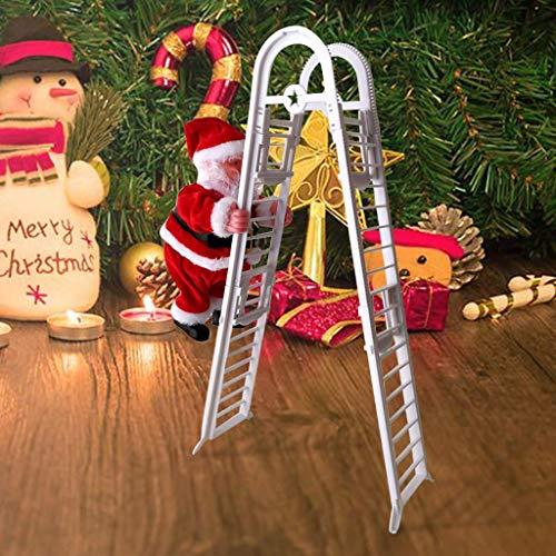 HIGHKAS Papá Noel trepador con Escalera con Fibra óptica Luz LED Decoraciones navideñas Árbol de Juguete eléctrico Colgante Adorno navideño Interior