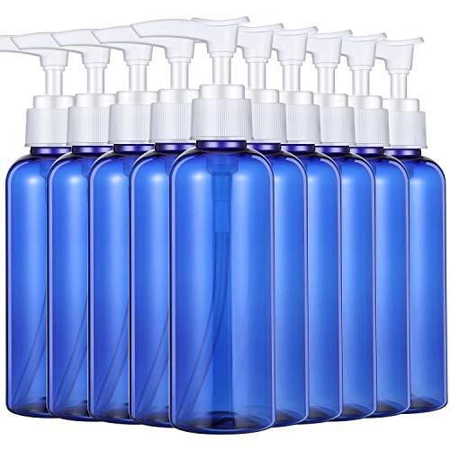 10 Piezas Botellas de Plástico Vacías de 100 ml Botellas de Bomba de Champú de Loción Vacías para Viaje Camping al Aire Libre Viaje de Negocios (Azul)