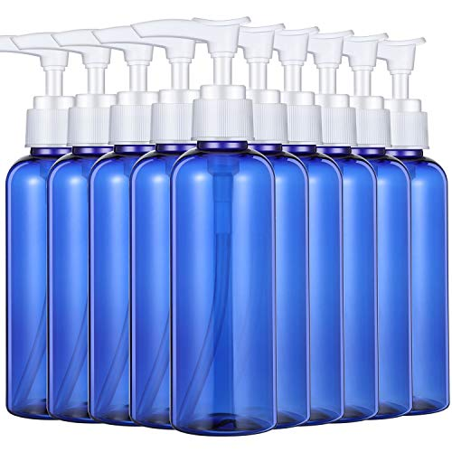 10 Pieces 100 ml Plastic Empty Bottles Empty Shampoo Pump Bottles Lotion Pump Bottles for Travel Outdoor Camping Business Trip (Blue)