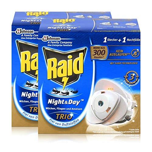 2x Raid Night & Day Trio Insekten Stecker & Nachfüller, gegen Mücken, Fliegen & Ameisen