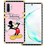 DISNEY COLLECTION Samsung Galaxy Note 10+ 5G Square Case Mickey Mouse Luxury Cute Metal Decoration Full Protective Soft TPU Shockproof Back Cover for Samsung Galaxy Note 10 Plus 6.8 Inch