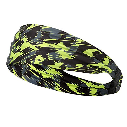 Diadema de yogaMAGT 1Pc Tejido Impreso de Fibra de Poliuretano Verde Impreso Diadema Deportiva Secado rápido Deportes al Aire Libre Fitness Banda para el Cabello para Correr Ciclismo(Verde)