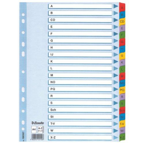 Esselte Register für A4, Deckblatt und 20 Trennblätter, Taben mit alphabetischem Aufdruck A-Z, Lochrand und Taben folienverstärkt (Mylar), Blau, Karton, 100167