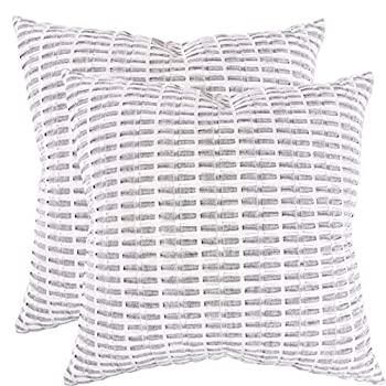 KAF Home Pleated Please Pillow Cover 20 x 20-inch 100-Percent Cotton   Set of 2 Pillow Covers  Gray 20 x 20