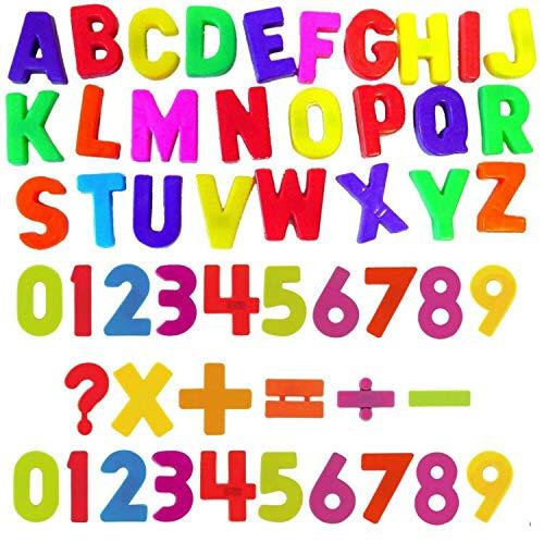 Imanes de nevera alfabetos, números con señales para aprender ortografía, contar, restar, agregar y multiplicar / educación temprana para niños mayores de 3 años (cartas y números+señales)