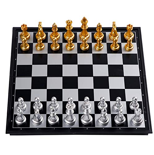 Cxcdxd Juego de ajedrez magnético de plástico Plegable Juegos Tradicionales para Adultos, niños, Principiantes, 36 x 36 cm