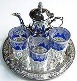 Kenta artesanias Juego de te marroquí, 3 Vasos Arabes, Míni Tetera metálica + un Bandeja repujada 25 cm d dmtr.