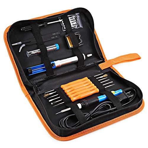 INLIFE Kit de Soldador Eléctrico Soldadura con Temperatura Ajustable Disipación Rápida 60W 220V 5 Puntas 2 Pinzas Para Diferentes Básicos Trabajos de Soldar
