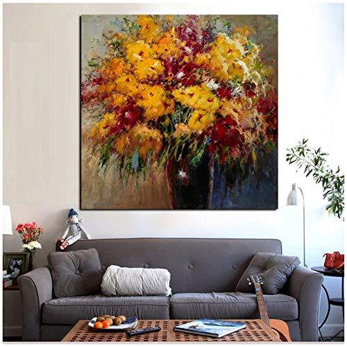 """NIESHUIJING druk op canvas HD abstract bloemen in vaas schilderij Morden Poster Wandkunst Afbeelding voor bank woonkamer Decoracion 11.8""""x 11.8""""(30x30cm) Geen lijst2"""