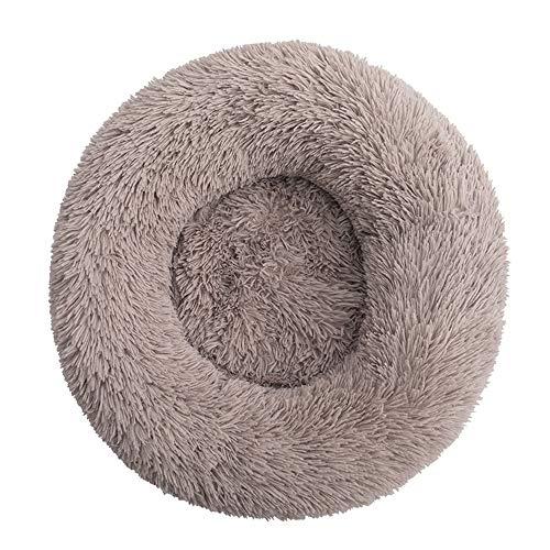 BVAGSS Cama de Felpa Deluxe Plush Redonda de Pelo Nido de Donut para Mascotas Deluxe para Gatos y Perros XH034 (Diameter:40cm, Light Brown)