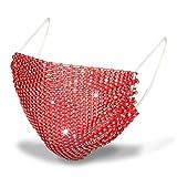 Weiqu Damen-Schals, Neonfarben, Netz-Gesicht, glänzende Kristall-Strass-Kette, Nachtclub-Party-Schmuck, Schal, für Outdoor-Schutz, Rot