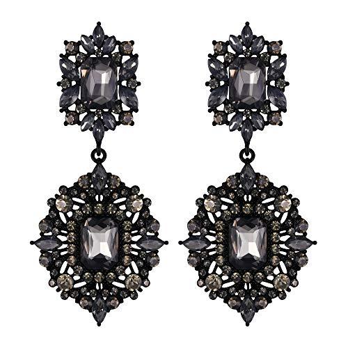 EVER FAITH Mujer Cristal Austríaco Art Deco Vintage Estilo Pendientes Cierre de Clip Gris Tono Negro