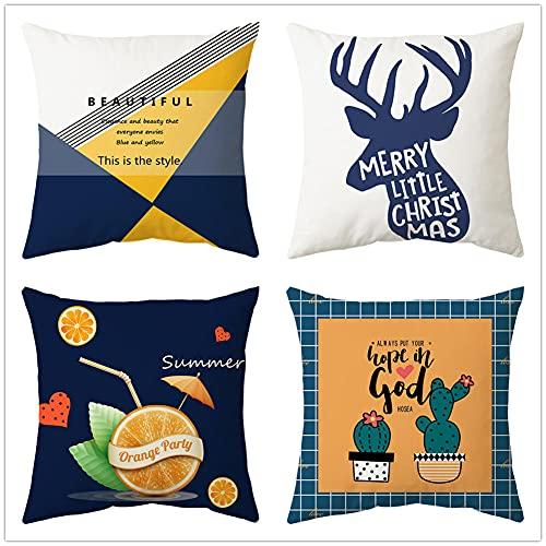 Jenboo 4 Piezas Fundas de Cojines,45x45cm/18x18in Animal Cada Throw Pillow Case Almohada de Lino Fundas de Almohada Decorativa Cuadrada Funda para Cojines para Hogar Oficina Coche Funda de Cojín C639