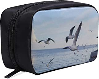 Gulls Flying Above Body Of Water Portable Travel Makeup Cosmetic Bags Organizer Multifunction Case Small Toiletry Bags For Women And Men Brushes Case