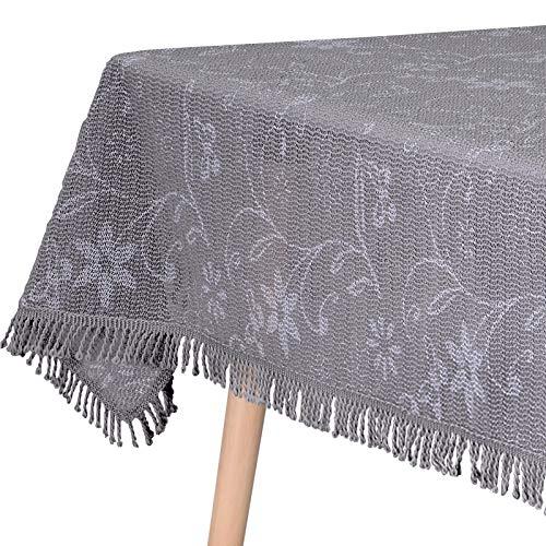 WOLTU Gartentischdecke Weichschaum Tischdecke mit Quaste geschäumt 3D Druck Wetterfest Witterungsbeständig rutschfest Outdoor eckig 110x140 cm Dunkelgrau Bedruckt