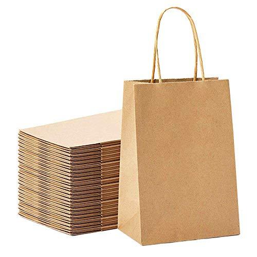 Jobary 24 Pièces Sac Kraft 23 * 8 * 17, Sac Papier Cadeau Recyclable, Sac Papier Kraft avec Poignées, La Solution Parfaite pour Les Anniversaires, Les Cadeaux(épaissir, 140gsm)