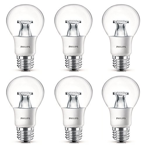 Philips LED Non-Dimmable A19 Clear Light Bulb: 800-Lumen, 2700-Kelvin, 8.5-Watt (60-Watt Equivalent), E26 Base, Soft White, 6-Pack