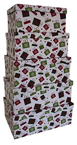 0 41751 Weihnachtsgeschenkkarton Päckchen - 5 tlg, hoch