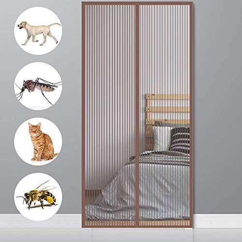 GOUER Mosquitera Puerta Magnetica 80x220cm Mantiene Insectos afuera Permite Entrada Puerta Mosquitera Circulacion de Aire para Balcón Puerta Corredera de Patio, Marrón