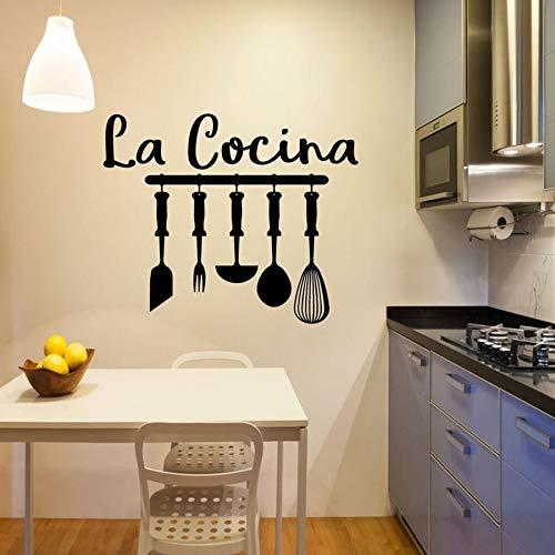 Calcomana de pared de cocina texto en espaol seal de cocina pegatinas de vinilo para pared decoracin de restaurante utensilios de cocina Mural