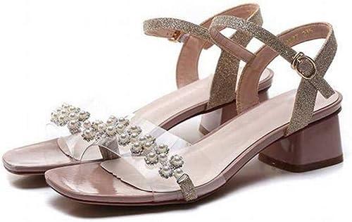 TFTORY Sandales D'été à Un Bouton, Femme épaisse, avec des Sandales Transparentes Sauvages, des Sandales à Boucles en Perles pour Femmes, rose, 39