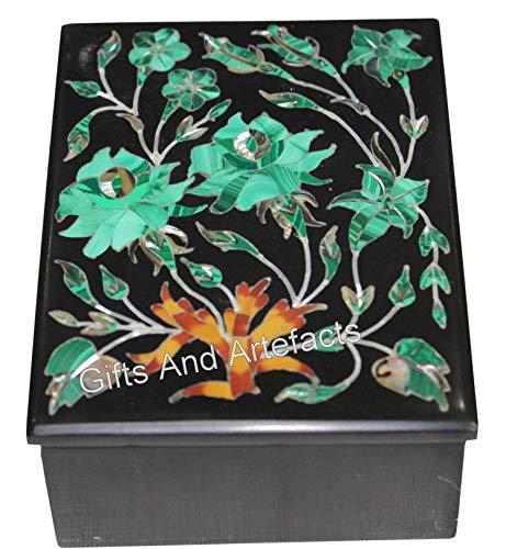 Caja de brazalete de mármol negro con caja de joyería rectangular Pietra Dura Art para ella de 6 x 4 pulgadas