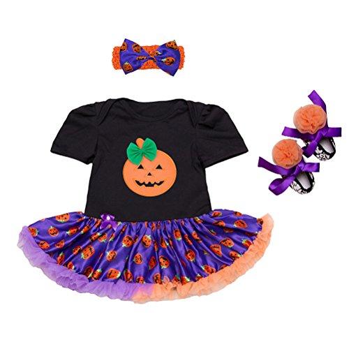 Zhhlinyuan Nouveau née Bébé Filles' Halloween Barboteuse Manche Courte Dentelle de Tulle Tutu Jupe Suit avec des Chaussures Bandeau