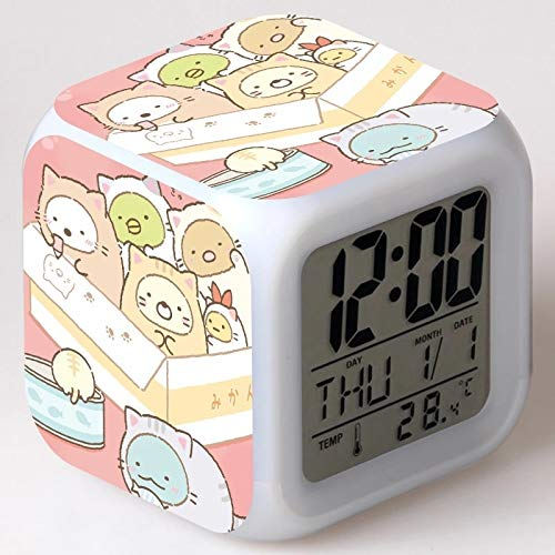fdgdfgd Anime Lindo Personaje Familia 3D número LED Dibujos Animados número de niños con termómetro Fecha Despertador