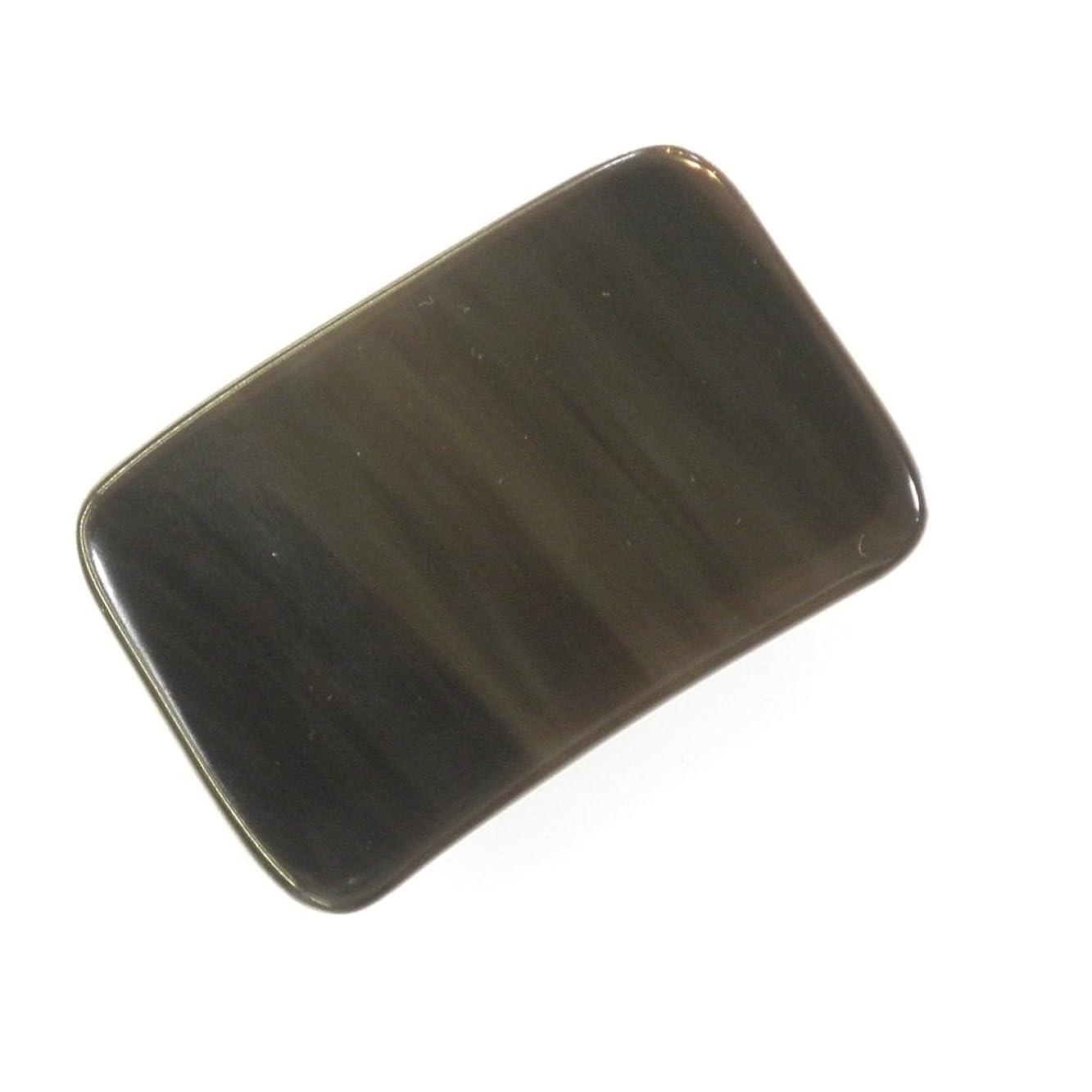 結果動員する極小かっさ プレート 厚さが選べる 水牛の角(黒水牛角) EHE214 長方形小 一般品 少し厚め(7ミリ程度)