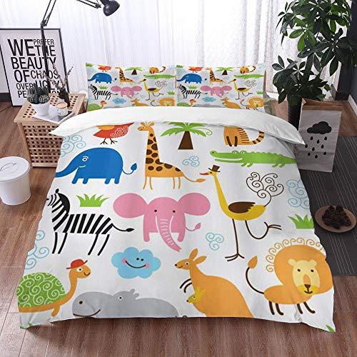 Mingdao bedding - Duvet Cover Set, Animal Giraffe Elephant Zebra Turtle Kids Nursery Baby Themed Cartoon Comic,Microfibre Duvet Cover Set 135 x 200 cmwith 2 Pillowcase 50 X 80cm