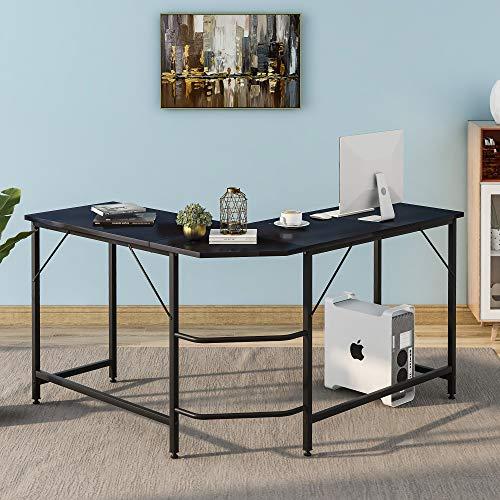Eckschreibtisch Computertisch Großer L-förmiger PC Tisch Bürotisch Arbeitstisch Platzsparende, Gaming, Metallrahmen, Industriestil, 128*120*76.5 CM, Schwarz