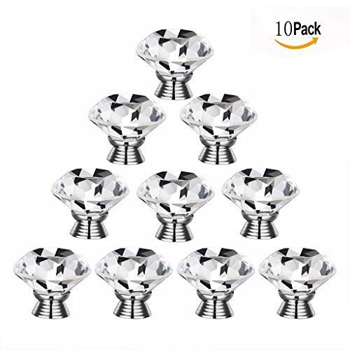 Gearmax® 30mm Poignées Boutons Transparent Diamant Cristal Verre Portes Meuble Tiroir Placard Décoration 10 pièces/Set(Transparent)